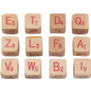 "TH93654 Tim Holtz® Idea-ology™ Wooden Alpha Dice 12/Pkg Natural W/Red .5""X.5""X.5"""